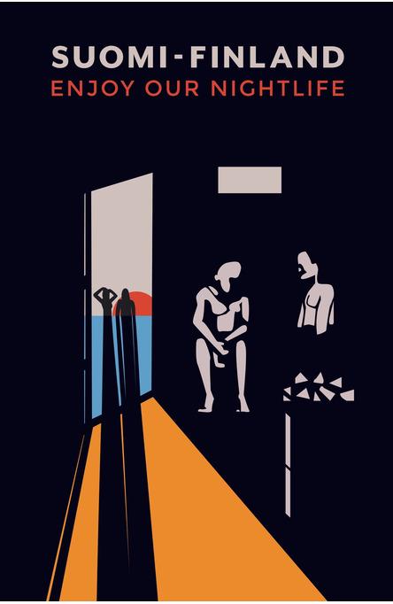 Enjoy our nightlife by Tintin Rosvik, Postcard
