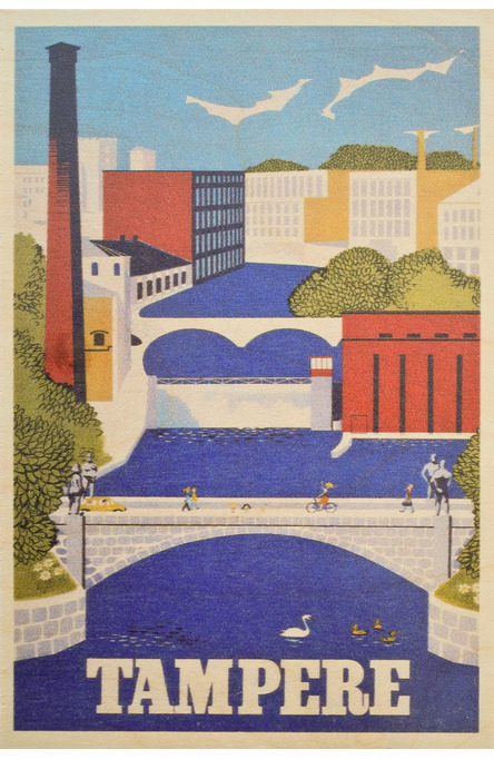 Tampere by Christianson, Wooden postcard