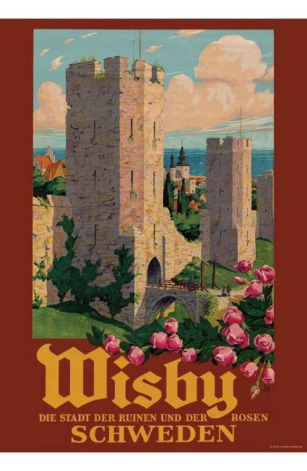 Visby, rosor och muren, Affisch A4-storlek