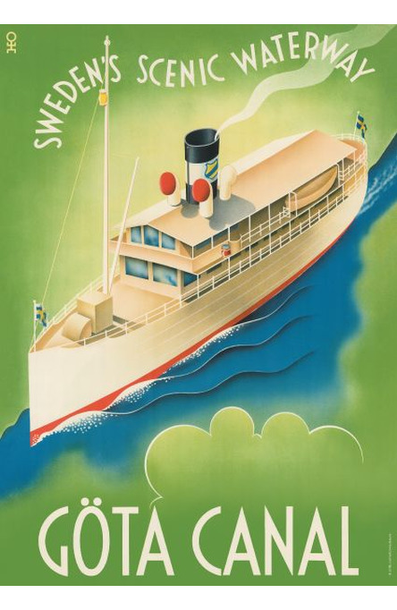 Göta Canal Waterway, A4 size poster