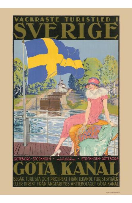 Göta Kanal, dam på däck, Affisch A4-storlek