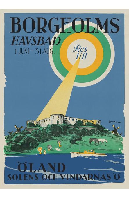 The sea bath in Borgholm, Poster 50 x 70 cm