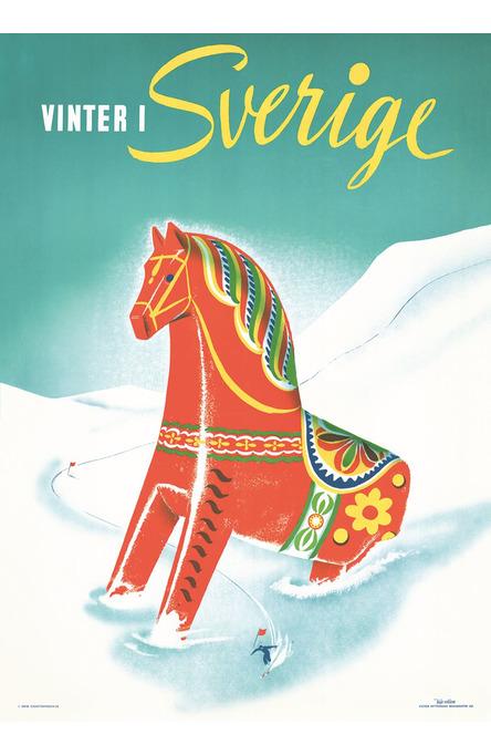 Winter Dalahorse, Poster 50 x 70 cm