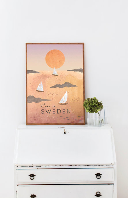 Sunset sailing by Henna Gaus, Poster 50 x 70 cm