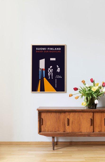 Enjoy our nightlife by Tintin Rosvik, Poster 50 x 70 cm (on demand print)