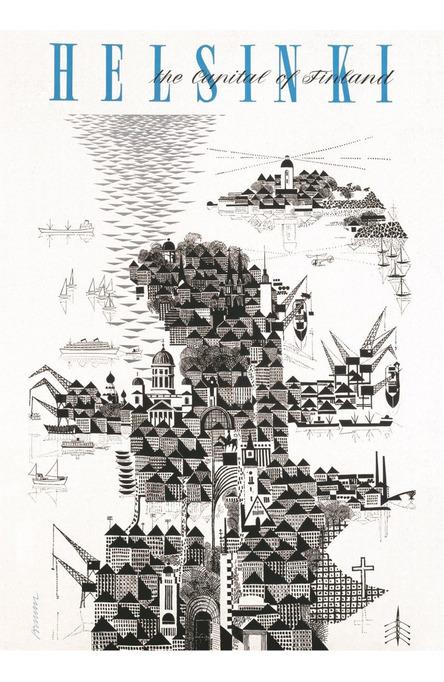 Helsinki by Erik Bruun, Poster 50 x 70 cm (on demand print)