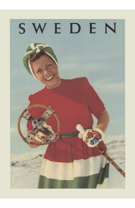 The Skiing Girl , Poster 50 x 70 cm