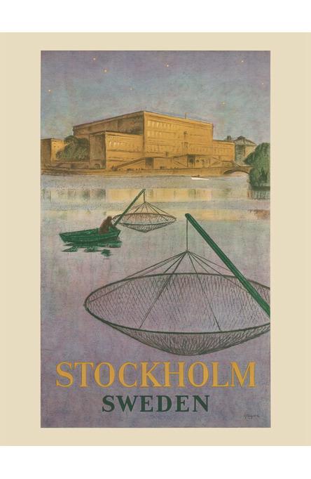 Fiskare på Stockholms ström, Affisch 30 x 40 cm