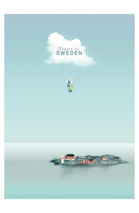 Travel to Sweden by Mae Liza Montibon, Poster 50 x 70 cm