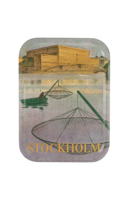 Fiskare på Stockholms ström, Bricka 20 x 27 cm