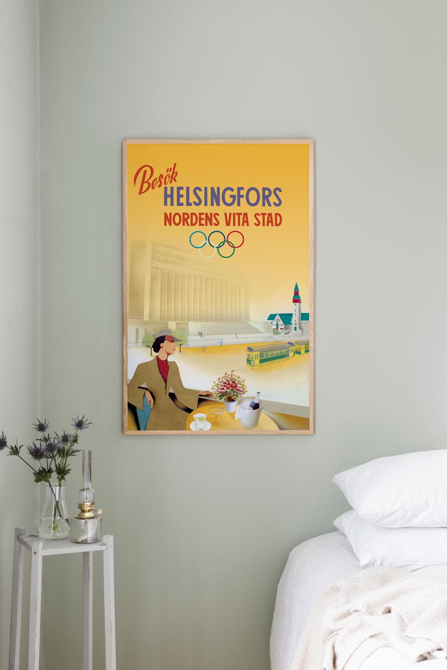 Visit Helsinki, poster of the champagne lady