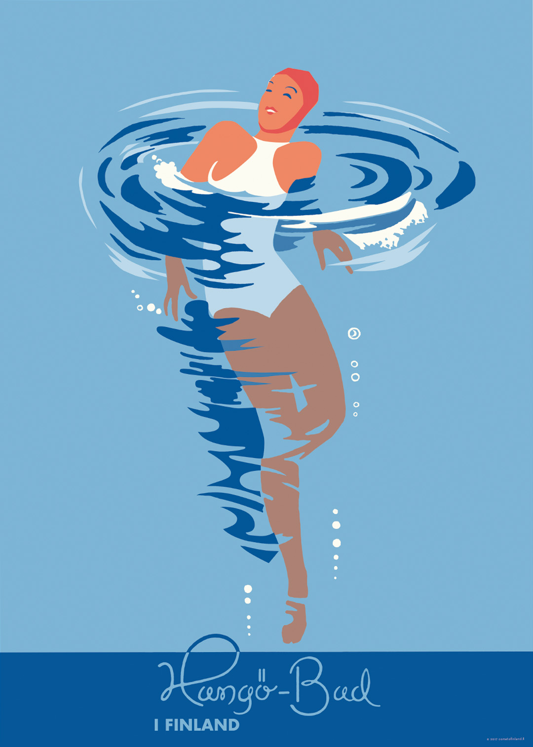Bad 70 Cm.The Hanko Swimmer Poster 50 X 70 Cm On Demand Print