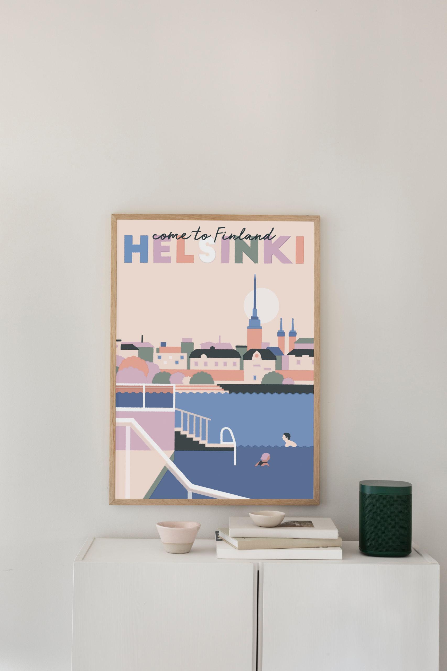 Poster of Helsinki, people swimming