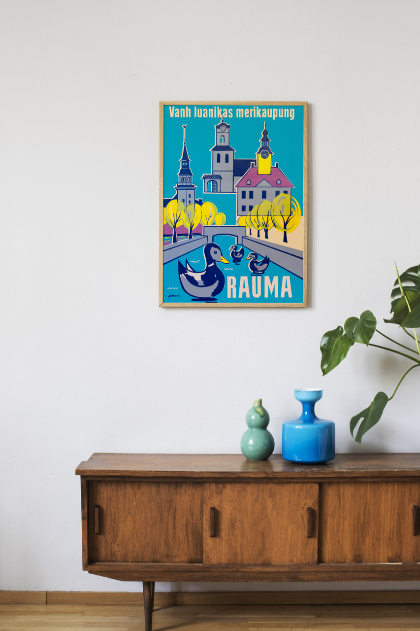Interior image of vintage poster illustrating the city of Rauma in Finland.