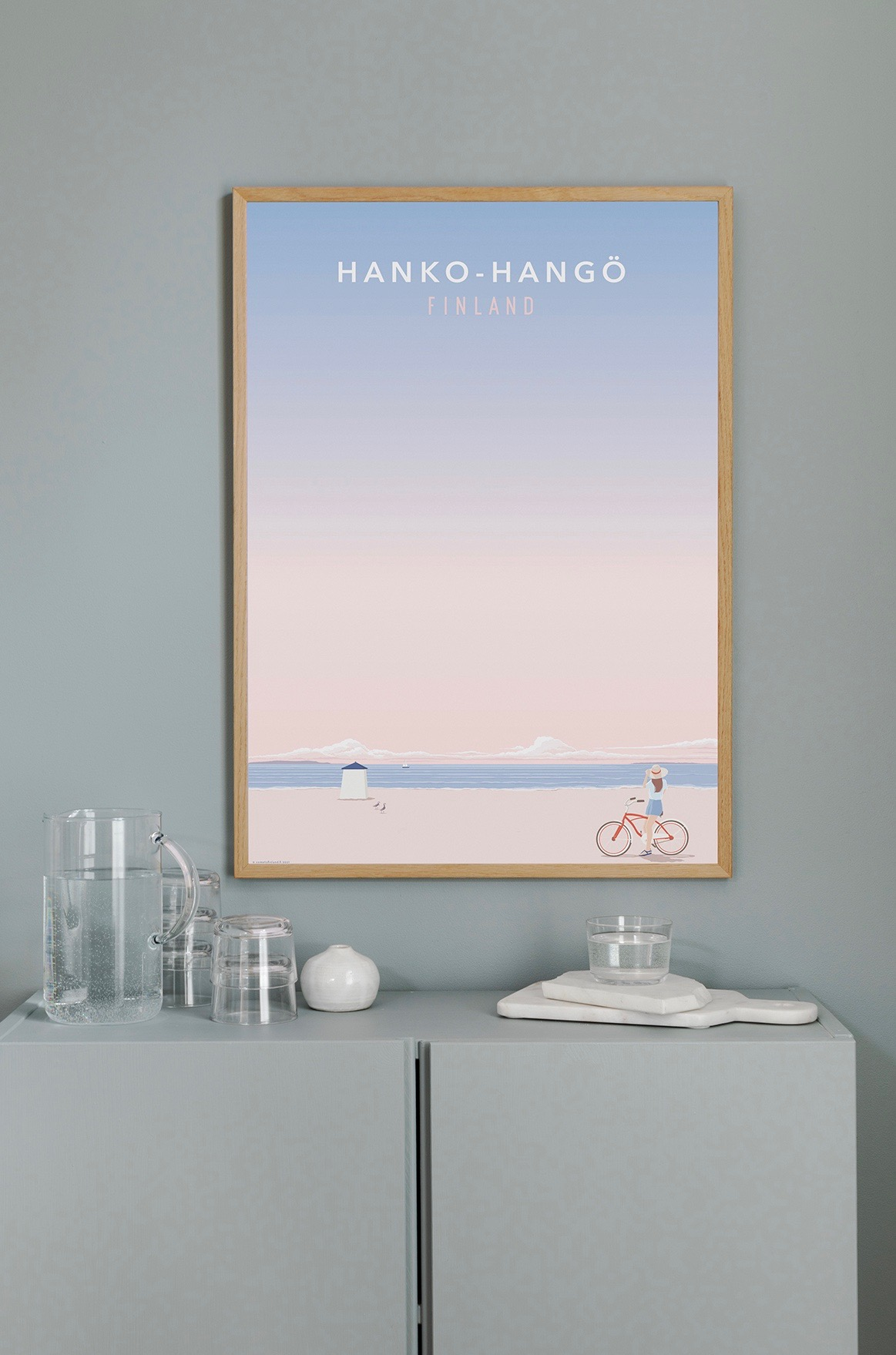 Poster of the beach in Hanko, woman on bicycle
